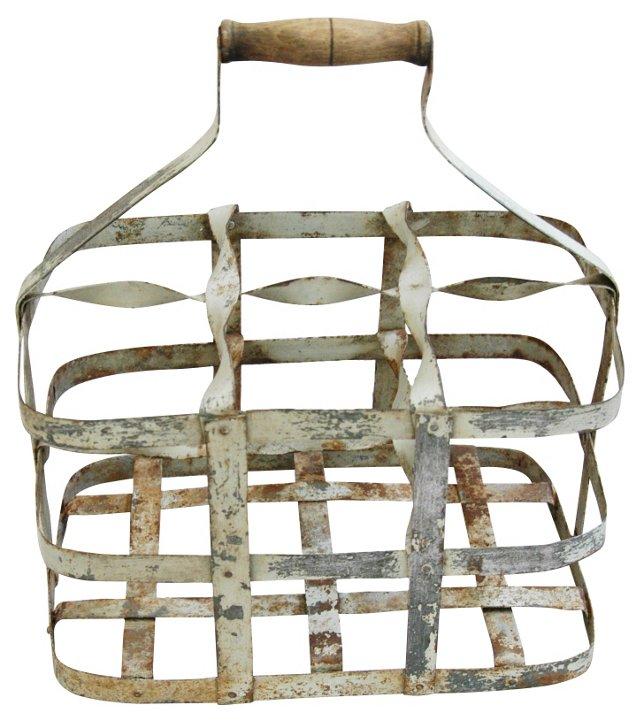 Antique French Zinc Six-Bottle Carrier