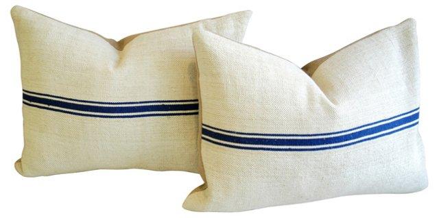 French Grain Sack & Linen Pillows,  Pair