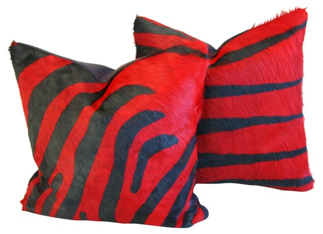 Red & Black Zebra Cowhide Pillows,  Pair