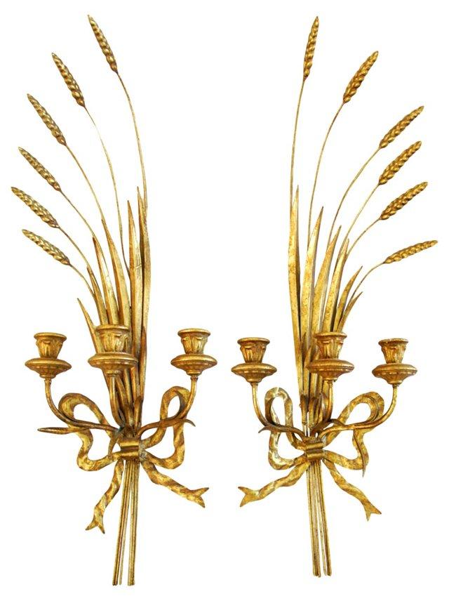1940s Italian  Gilt Candle Sconces, Pair