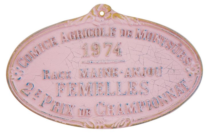 1974  French  Award Plaque