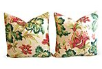 Tropical   Floral Barkcloth Pillows, S/2