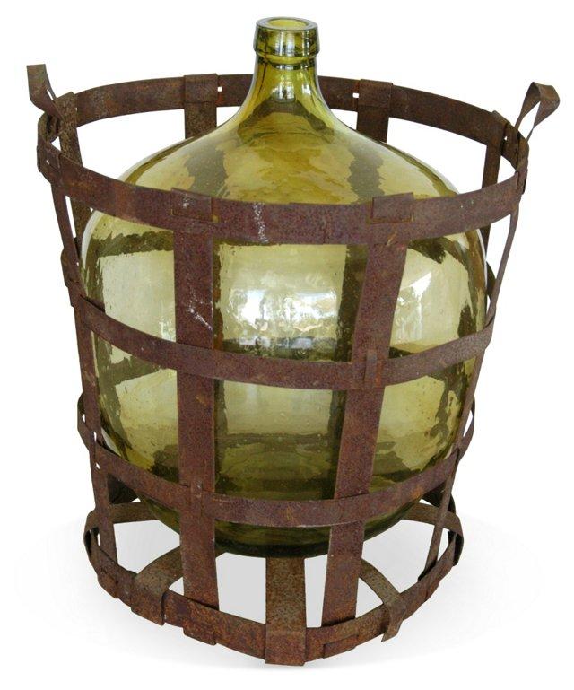 French Demijohn Bottle & Strap Basket