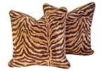 Safari Tiger Chenille Pillows, S/2