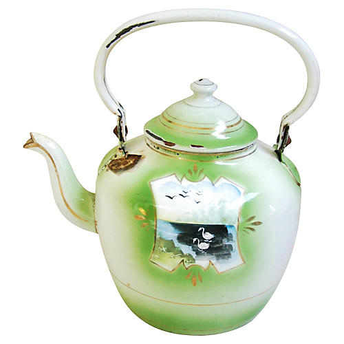 1920s Hand-Painted French Teapot