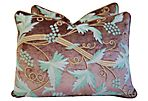 Schumacher Crewel & Velvet Pillows, S/2