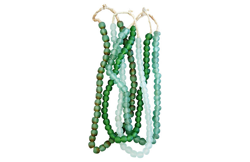 Emerald Green Glass Bead Strands, S/4