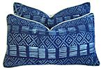 Blue & White Batik & Linen Pillows, Pair