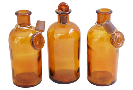 Antique French Apothecary Bottles, S/3