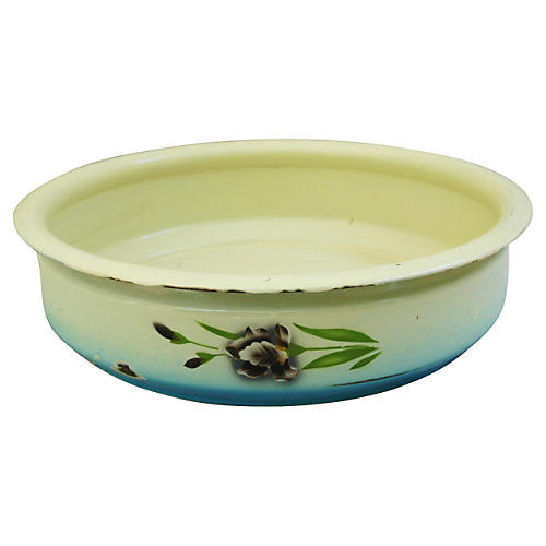 1930s French Enameled Porcelain Bowl