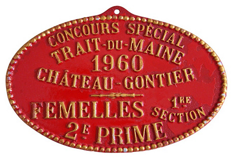 French Prize Trophy Award Plaque, 1960