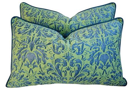 Fortuny Sevres/Silk   Velvet Pillows, Pr
