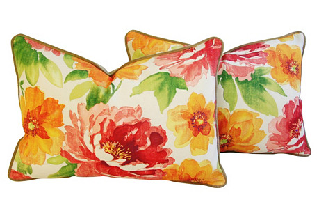 Jewel-Tone Floral Lumbar Pillows,  Pair