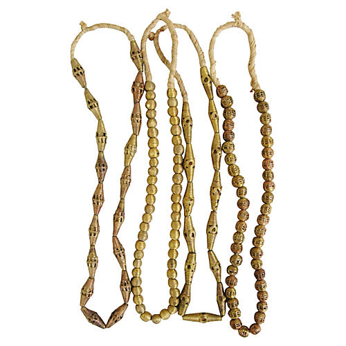 African Brass & Copper Bead Strands, S/4