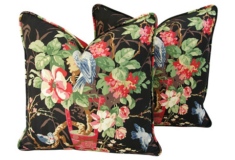 Richloom Floral & Bluebirds Pillows, Pr
