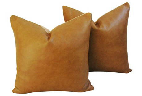 Genuine Italian Leather Pillows,  Pair