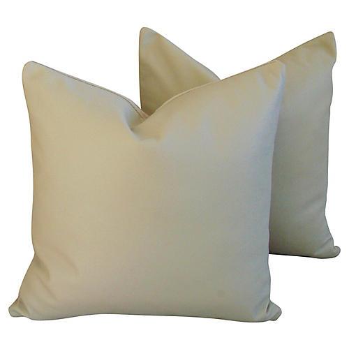 Italian Sand Leather/Velvet Pillows, Pr