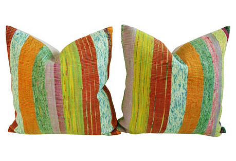 Hand-Looped/Tufted Chindi Pillows,    Pr