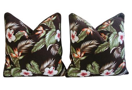Bird of Paradise & Hibiscus Pillows, Pr