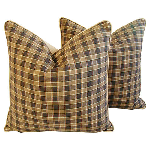 Camel Check Plaid Pillows, Pr