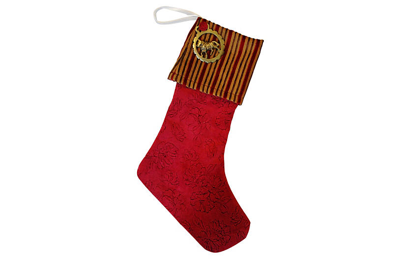 Christmas Stocking w/ Brass Medallion