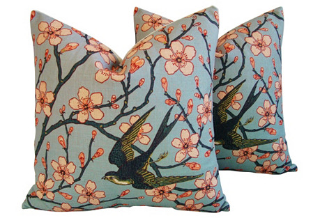 Magnolia Blossoms/Sparrow Pillows, Pair