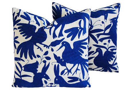 Hand-Embroidered Otomi Pillows, Pair