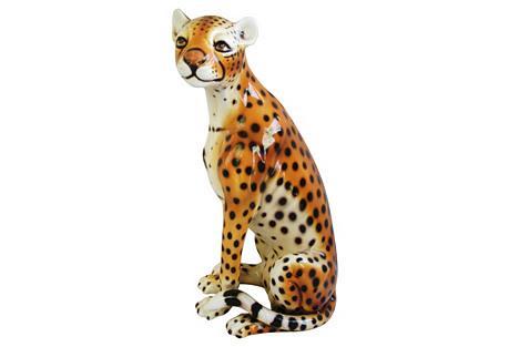 Midcentury Capodimonte Italian Cheetah