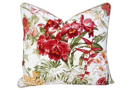 Tropical   Orchid Barkcloth Pillow