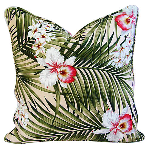 Palm Leaf & Orchid Barkcloth Pillow