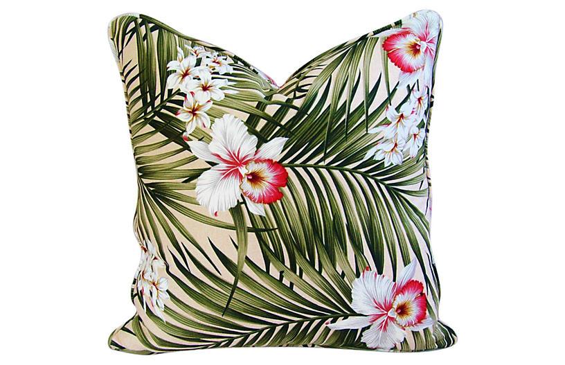 Palm Leaf & Orchid Barkcloth Pillow