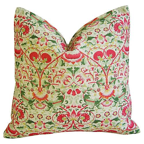 Colorful Floral Linen Pillow