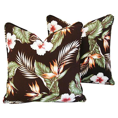 Hibiscus/Bird of Paradise Pillows, Pair