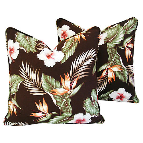 Hibiscus/Bird of Paradise Pillows, Pair