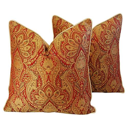 French Jacquard & Velvet Pillows, Pair