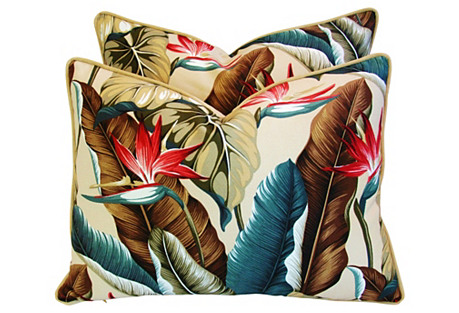 Tropical Bird of Paradise Pillows, Pair