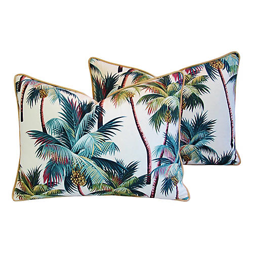 Tropical Coconut Palm Tree Pillows, Pair