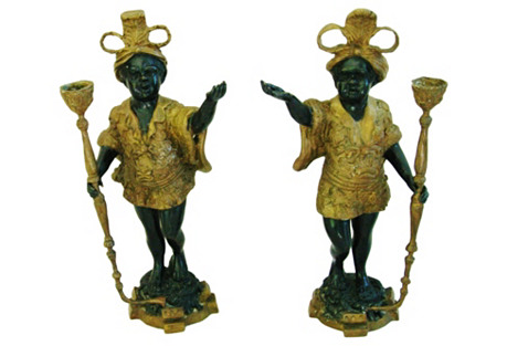 19th-C. French Bronze Candleholders, S/2