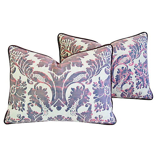 Italian Fortuny Vivaldi Pillows, Pair