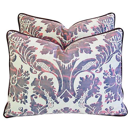 Italian Fortuny Vivaldi Pillows, Pair