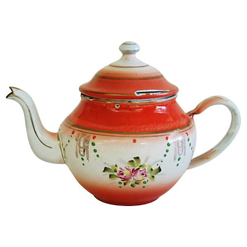 French Hand-Painted Enamelware Teapot