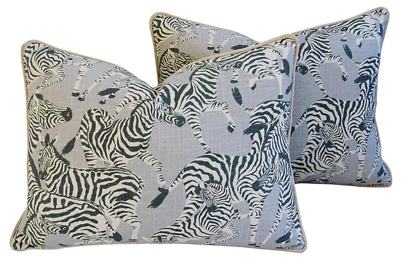 Zebra Linen & Velvet Pillows, Pair