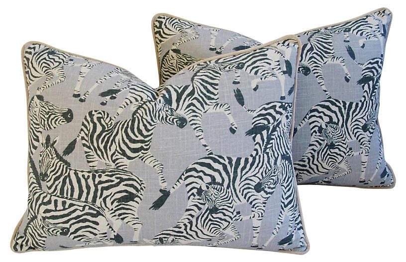 Safari Zebra Linen/Velvet Pillows, Pair