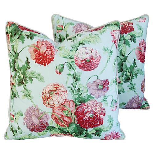 Brunschwig & Fils Poppies Pillows, Pair