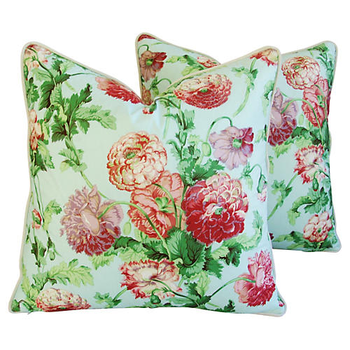 Brunschwig & Fils Poppies Pillows, Pair