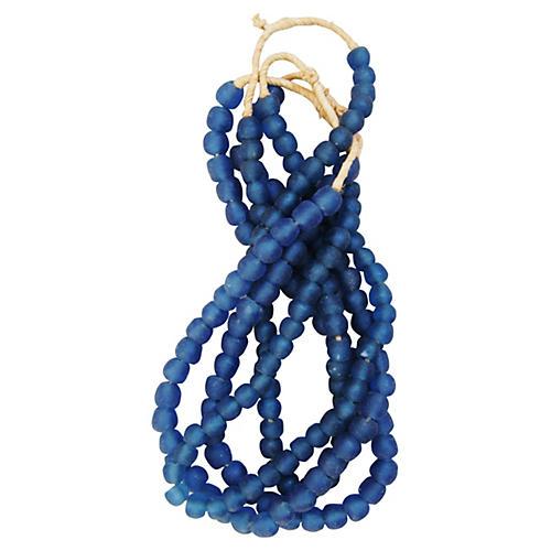 Deep Blue Glass Bead Strands, S/4