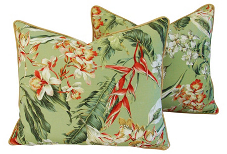 Tropical Paradise Floral Pillows, Pair