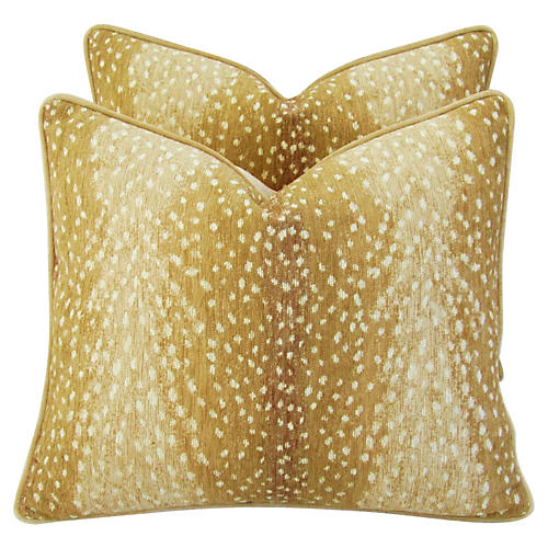 Fawn Velvet Pillows, Pair