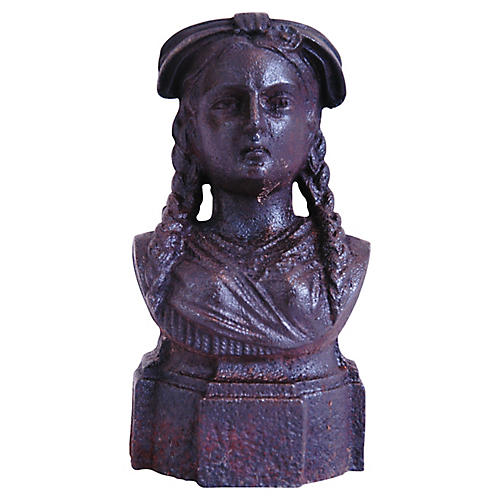 19th-C. French Iron Lady Bust Fragment
