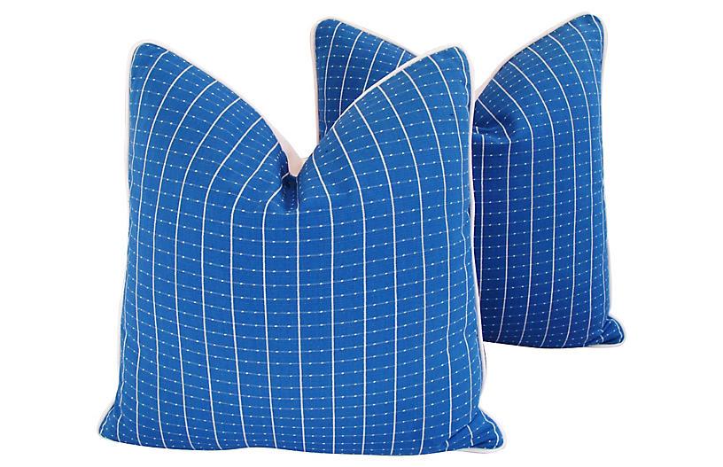 Blue & White Pillows, Pair